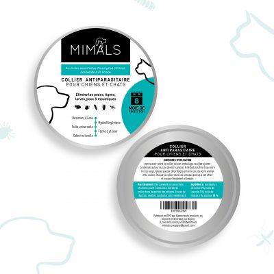 Etiquettes collier antipuces chats et chiens Mimals
